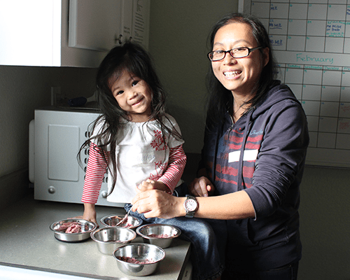 A mother and daughter filling cat bowls with food.