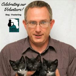 FieldHaven Volunteer Reg holding three black and white kittens.