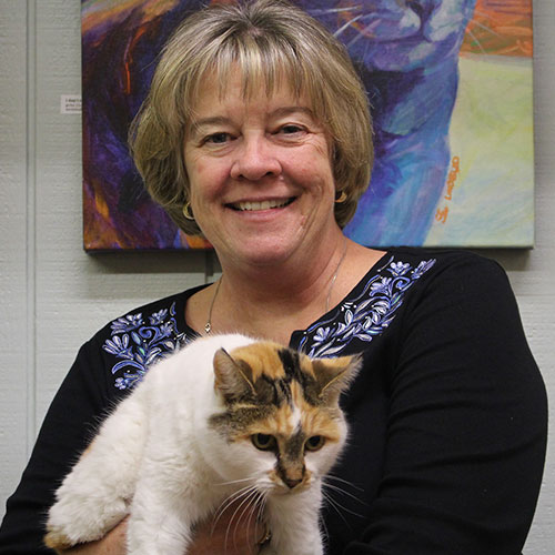 Board member Angie Barreto holding a calico cat