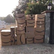 A pile of Amazon Prime boxes.