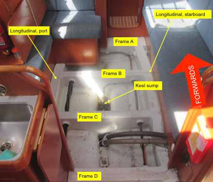 Damage of hull stiffening structure ofHull damage of GRP sailing yacht after running aground