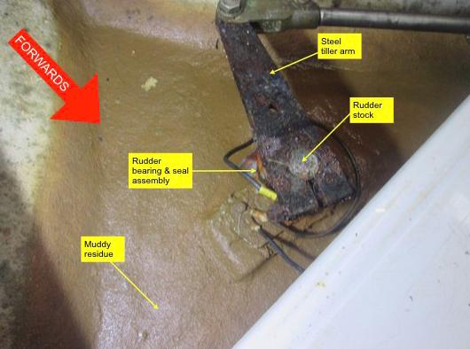Mud accumulation around rudder bearing assembly