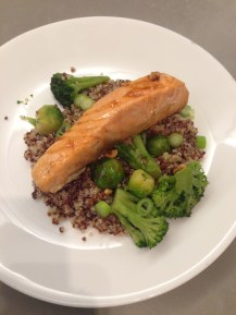 "Sriracha Soy Salmon: ""We made this Sriracha soy salmon dish last night and it was delicious! The Sriracha added a welcome kick and balanced nicely with the soy sauce and honey. The best thing about this dish is that it is simple, quick, healthy and super flavorful. Perfect for a weeknight. We paired it with quinoa, Brussels sprouts and broccoli. This will definitely be added to our repertoire. Another winning recipe from Fieldhouse Kitchen!"" -Abby L., Miami"