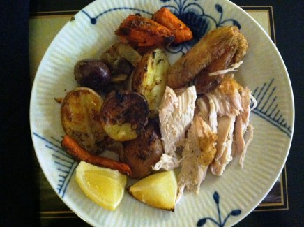 """Lemon Roasted Chicken: """"I was a little intimidated to roast a whole chicken, but Becca's photos and guide made it seem so easy - and it was! I added a few more vegetables and roasted everything in a cast iron skillet. The chicken was delicious! This is a perfect Sunday night meal. I look forward to making it again soon!"""" -Katie R., Stratton, VT"""