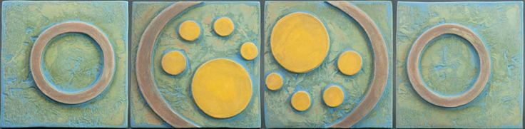 Four Panel Green with Yellow Circles