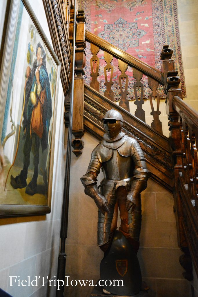 Salisbury House & Gardens front stairway with kngihts armor suit and art work