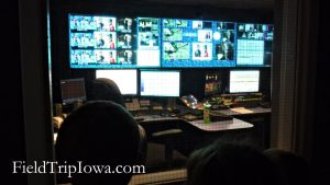 control room at Iowa Public Television on a field trip