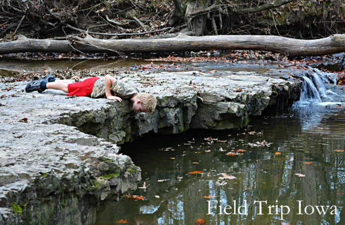 Low water levels allow for exploring the stream on Rocky Ford Trail at Wallace State Park is fun and beaitiful! Only minutes off I35 in MO.