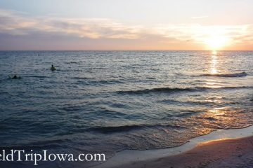 Swimming at Bean Point at sunset onAnna Maria Island Florida.