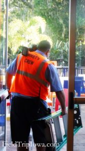 "Maintenance work with ""Emmet's Crew"" organge work vest on at Legoland Resort in Florida."