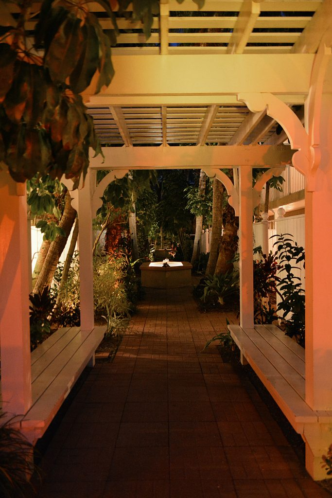 Tortuga Inn Beach Resort's court yard at night on Anna Maria Island Florida.