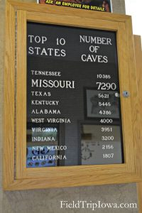 Number of caves sign at Onondaga Cave State Park in Leasburg MO