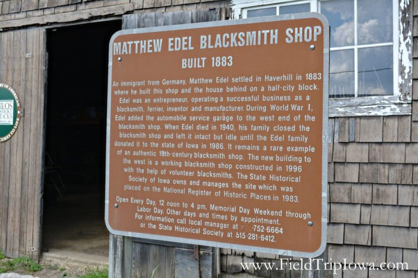 Informational Sign at Matt Edel Blacksmith Shop in Iowa