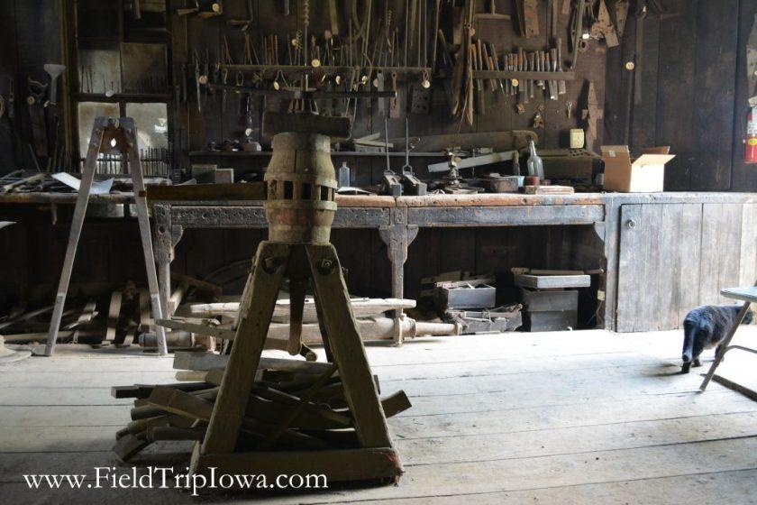 Wagon Wheel Setting tool at Matt Edel Blacksmith Shop in Iowa