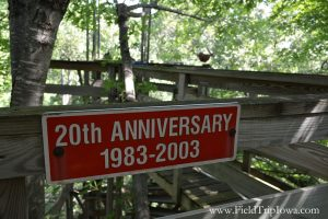 Sign for 20th Anniversary at The Big Treehouse in Marshalltown Iowa