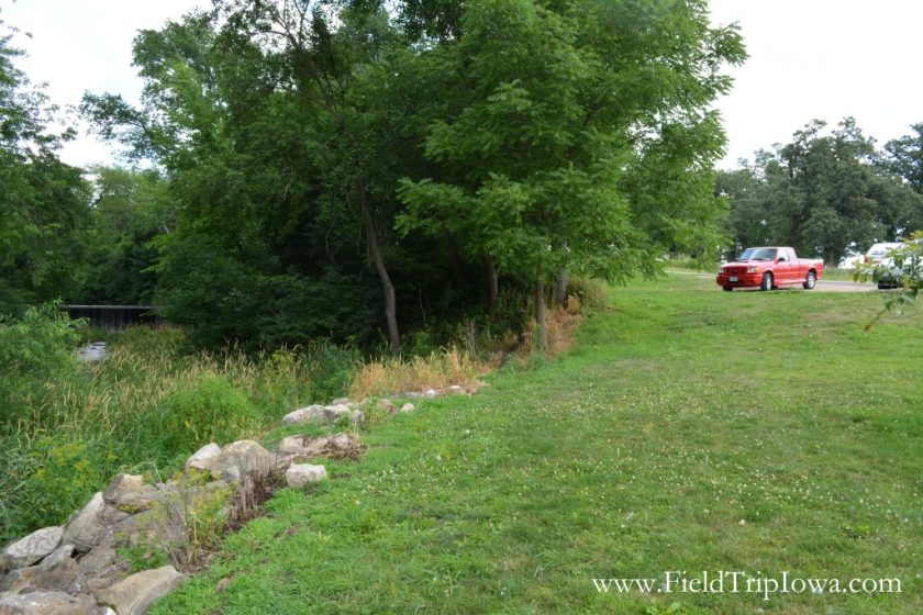Parking lot is close to Union Grove State Park Waterfall in Iowa.
