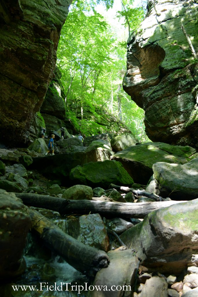 People climb boulders in Parfrey's Glen Natural Area near Devil's Lake Wisconsin