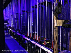 Backstage ropes on the Des Moines Community Playhouse tour in Iowa.