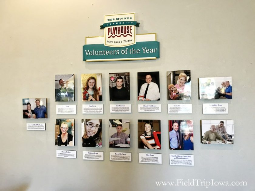 Volunteer wall on the Des Moines Community Playhouse tour in Iowa.