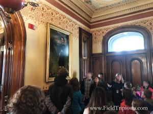 homeschool tour group at Terrace Hill in Iowa