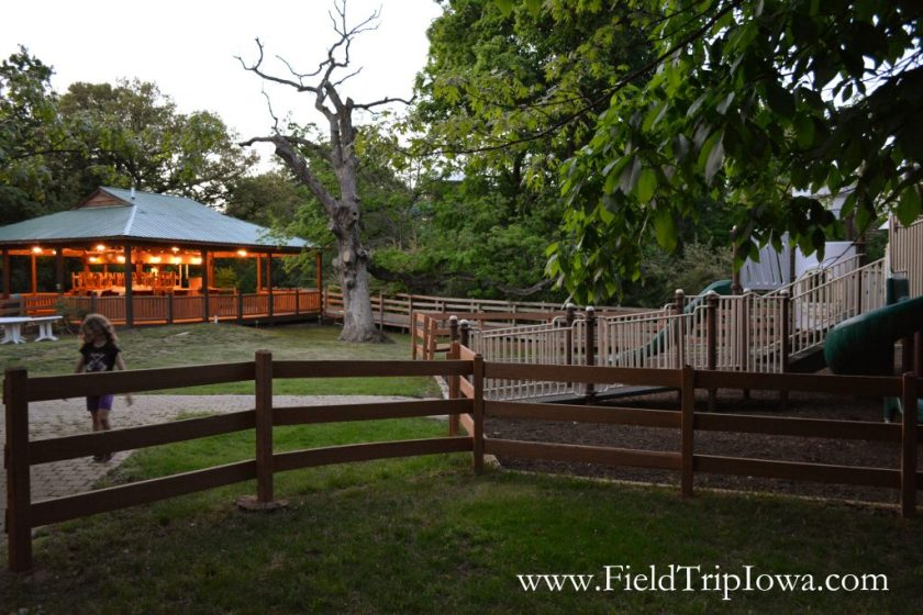 Outdoor pavillion with lights on at Grizzly Jack's Grand Bear Resort and Indoor Waterpark in Utica, IL