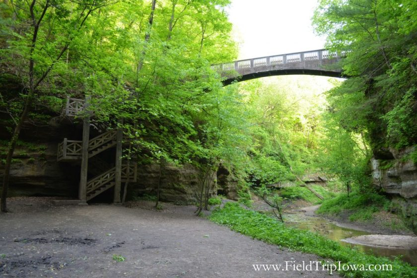Bridge and stairway that leads down to Wishing Well in Matthiessen State Park, IL