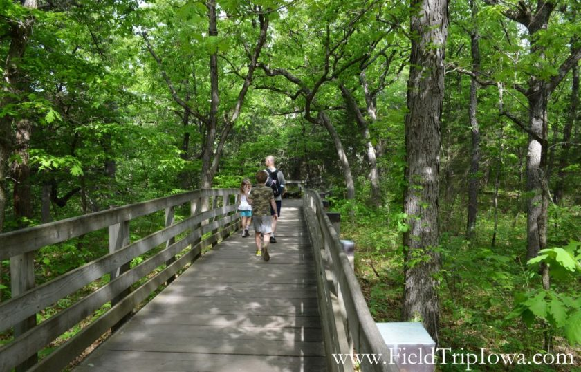 Family hiking on board walk in Starved Rock State Park, IL
