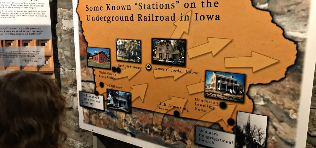State of Iowa map showing locations of the Underground Railroad at the Jordan House in West Des Moines