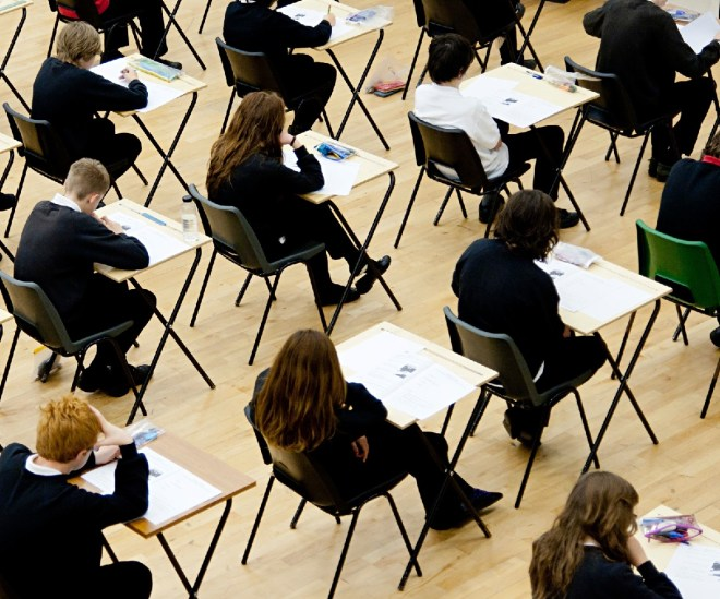 Pupils sit their GCSEs
