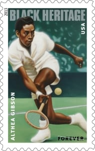 A Forever stamp of Althea Gibson, designed by Derry Noyes from a painting by Kadir Nelson. (U.S. Postal Service)