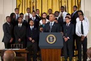 """President Barack Obama delivers remarks at an event to highlight """"My Brother's Keeper,"""" an initiative to expand opportunity for young men and boys of color, in the East Room of the White House, Feb. 27, 2014. (Official White House Photo: Pete Souza)"""