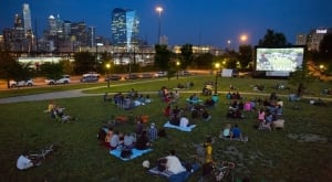 Film fans have a view of the Philadelphia skyline as they watch on outdoor movie. (Photo: The Awesome Fest)