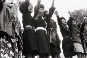 Black Panthers at a 1969 Free Huey rally in Oakland. Photo courtesy of Pirkle Jones and Ruth-Marion Baruch.