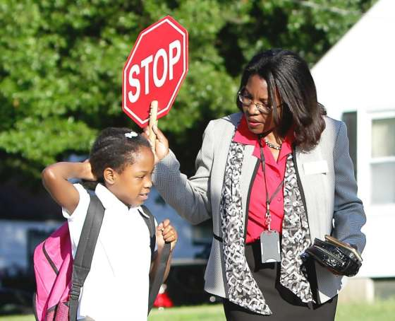 Superintendent Tiffany Anderson serves as a crossing guard before and after school. (Photo: Jennings School Distict)