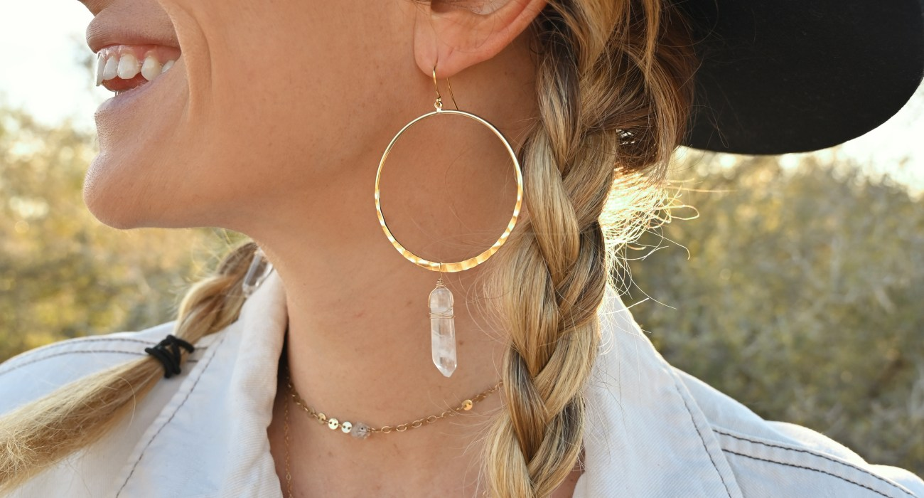 Crystal Hoops, Boho Hat & A Vintage Jacket