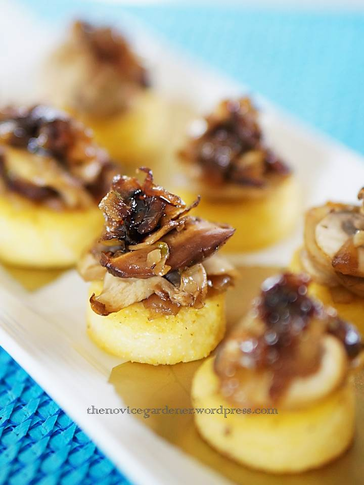 polenta canapes with mushroom ragout