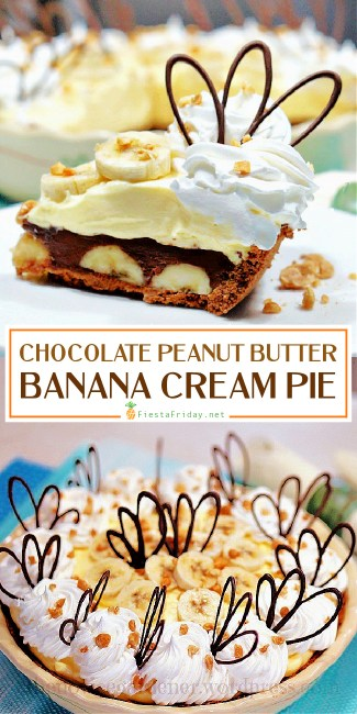 Chocolate Peanut Butter Banana Cream Pie | Chocolate, peanut butter, banana, vanilla pudding, whipped cream – all in one pie! This will satisfy all your cravings in one single bite! #chocolate #pie #creampie #peanutbutter #banana