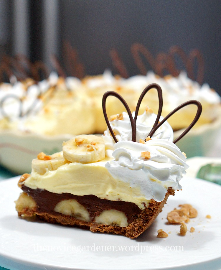 Chocolate Peanut Butter Banana Cream Pie