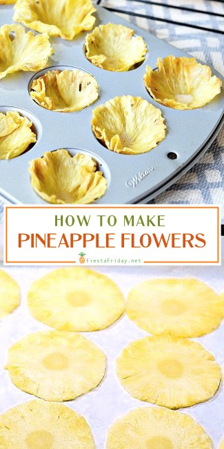 Step-by-step instructions on how to make dried pineapple flowers. Edible and healthy decoration for your cakes or cupcakes.
