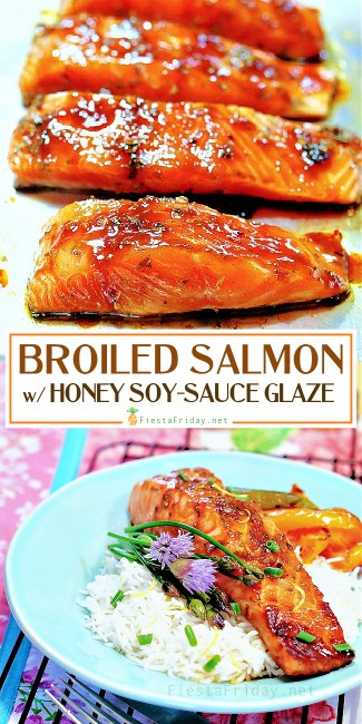 Broiled Salmon with Rosemary and Lemon Zest-Infused Honey Soy Sauce Glaze | Rosemary and lemon zest are used to infuse the honey soy sauce glaze, which make the salmon unforgettably flavorful! This IS the BEST salmon recipe! #healthyrecipe #seafood #fish #salmon #broiled #superfoods #herbs #lemon #honey #soysauce #rosemary