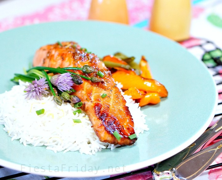 broiled salmon with infused honey glaze | fiestafriday.net