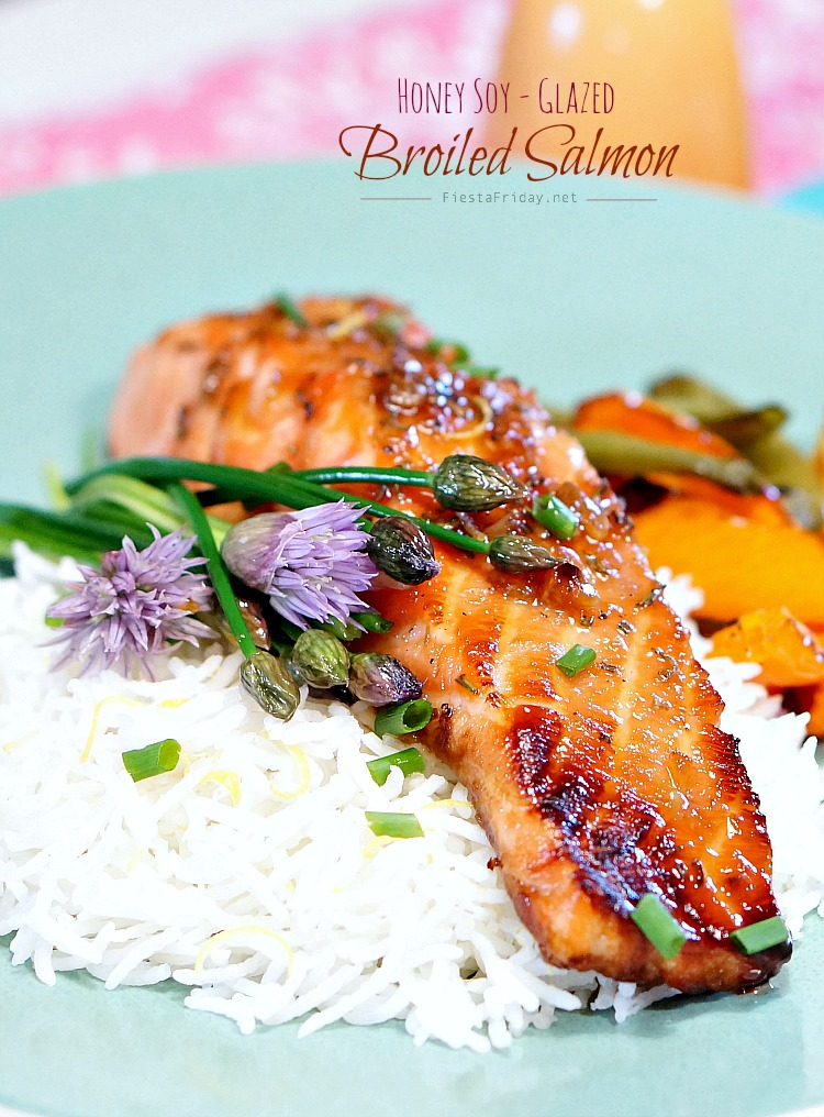 Broiled Salmon with Rosemary and Lemon Zest-|nfused Honey Soy Sauce Glaze | Rosemary and lemon zest infuse the honey soy sauce glaze and make the salmon unforgettably flavorful! This IS the BEST salmon recipe! #healthyrecipe #seafood #fish #salmon #broiled #superfoods #herbs #lemon #honey #soysauce