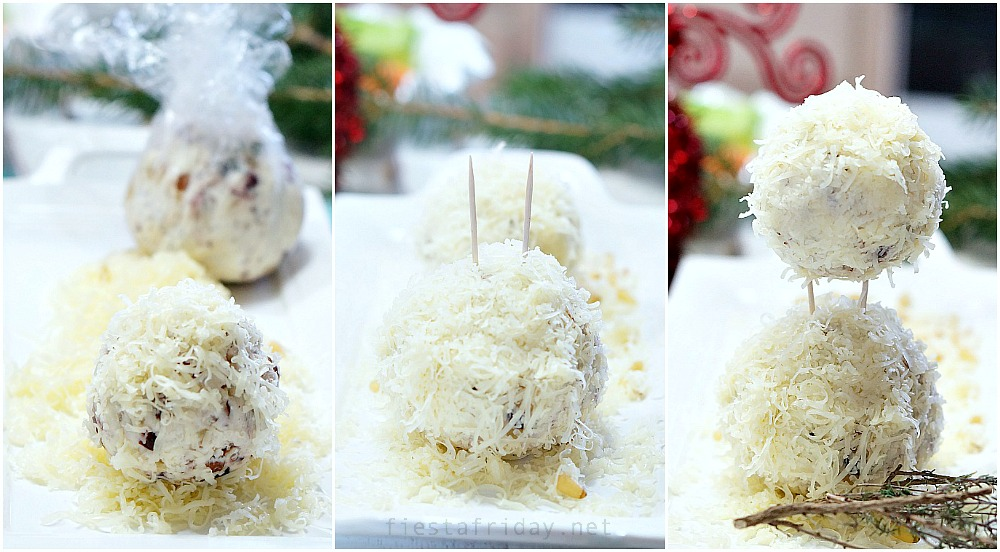 how to make a snowman holiday cheese ball | fiestafriday.net