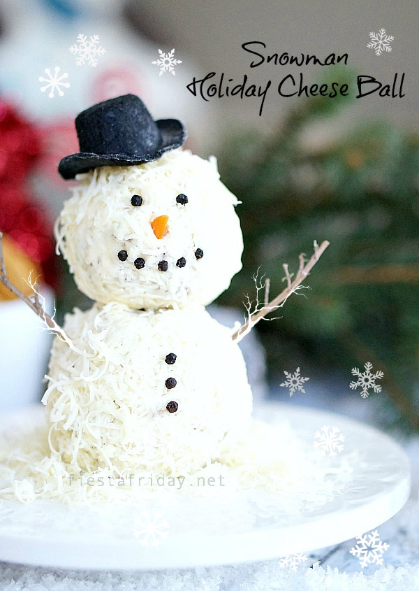 snowman holiday cheese ball | fiestafriday.net