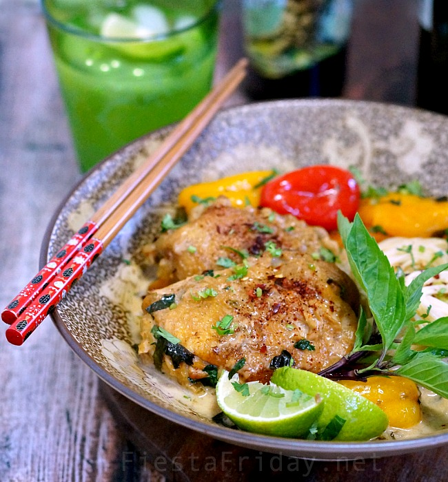 This Coconut Cilantro Chicken is a super-easy Thai-style curry and will immediately satisfy all your cravings for Thai food! There's no need to go to the restaurant! #chicken #thai #curry #coconut #cilantro #easyrecipe #healthy