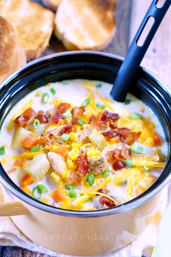 cheesy chicken corn chowder | fiestafriday.net