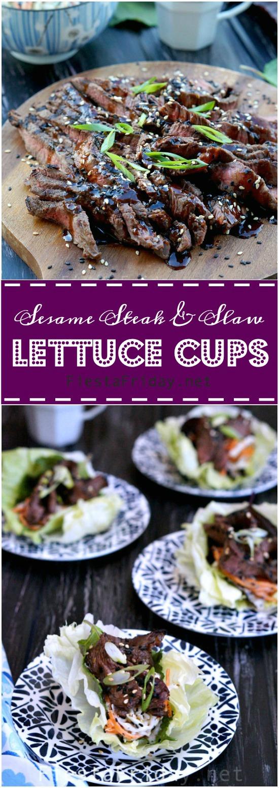 Sesame steak & slaw lettuce cups   fiestafriday.net