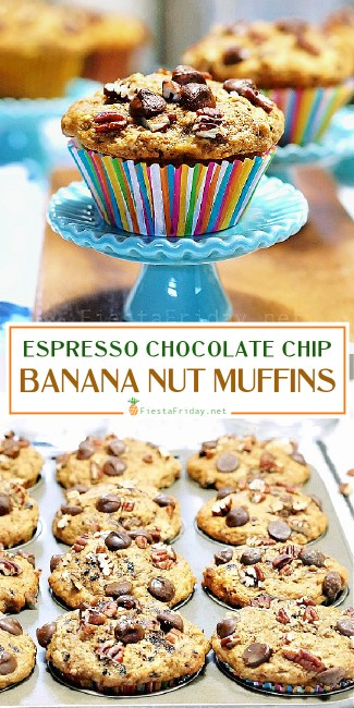 These espresso-flavored chocolate chip banana nut muffins are your breakfast and coffee combined in a single bite! Have your morning coffee and eat it, too! #chocolate #chocolate chips #espresso #banana #nut #muffins