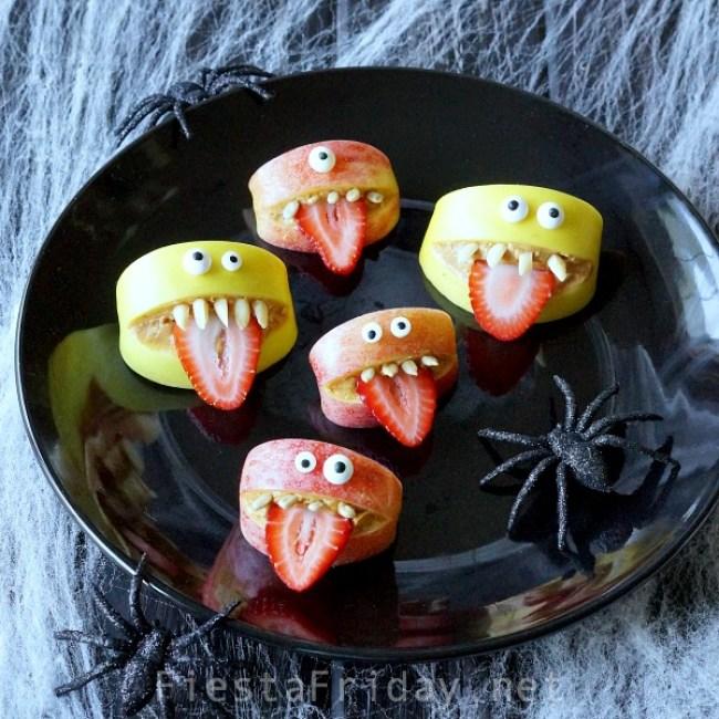 Silly Halloween Apple Bites | FiestaFriday.net