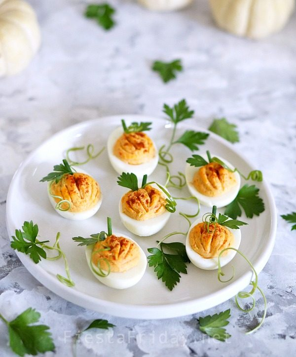 pumpkin-deviled-eggs | fiestafriday.net